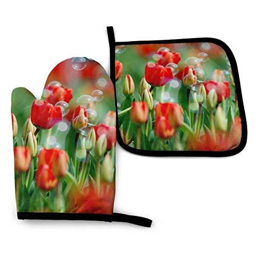 MYGED Ensembles de mitaines de four et de supports de pot, Nature Fleurs Bulles Tulipes Fleurs rouges Antidérapant Moufle de cuisine, Gants de cuisson à résistance à la chaleur avancée pour la cuiss