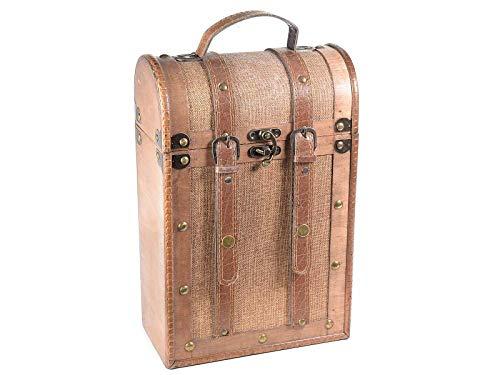 Caja para botellas de madera con 2 compartimentos