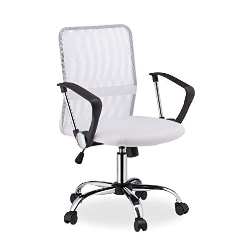 Relaxdays Bürostuhl, 360° drehbar, höhenverstellbar, ergonomisch, 120 kg belastbar, Netzstoff, HBT 101x62x62 cm, weiß