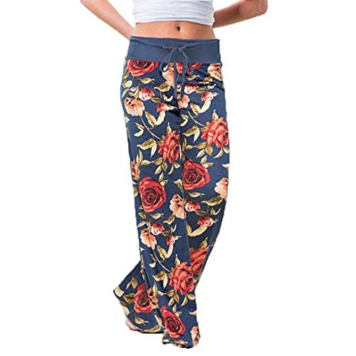 WJANYHN Pantalones Casuales Pantalones Sueltos con Estampado de Camuflaje de Encaje Mujer