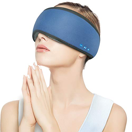 Bluetooth Sleeping Eye Mask Headphones,Rotibox Lightweight Wireless Bluetooth Headphones 3D Ergonomic Design Sleeping Music Eye Mask, Perfect for Travel & Sleeping - Blue