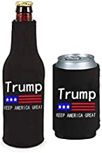 WENGUISP 2Pack Trump 2020 -Keep America Great- Can & Bottle Holder Insulator Beverage Cooler Set Neoprene Beer Bottle Cooler Sleeve with Zipper Sleeves for Trump 2020 (for Trump)