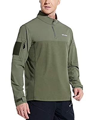 BALEAF Men's Quarter Zip Pullover Long Sleeve Shirts with Pockets Military Combat Tactical Shirt Hunting Hiking Green M