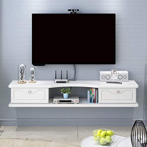 Hängeboard Wohnwand Modern Schwimmender Fernsehschrank mit zwei Schubladen Schließfach Router-Speicherrack Kabel Aufbewahrungsbox Schwimmende Regale Medienkonsole zur Wandmontage
