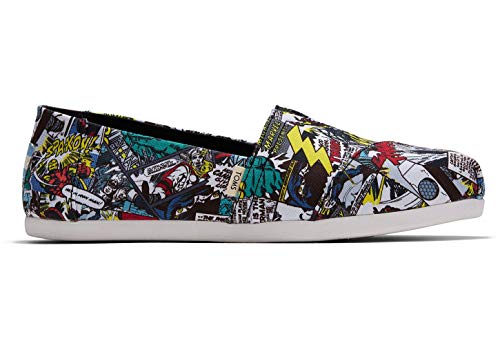 TOMS womens Alpargata loafers shoes, Military Marvel Comic Print, 5 US