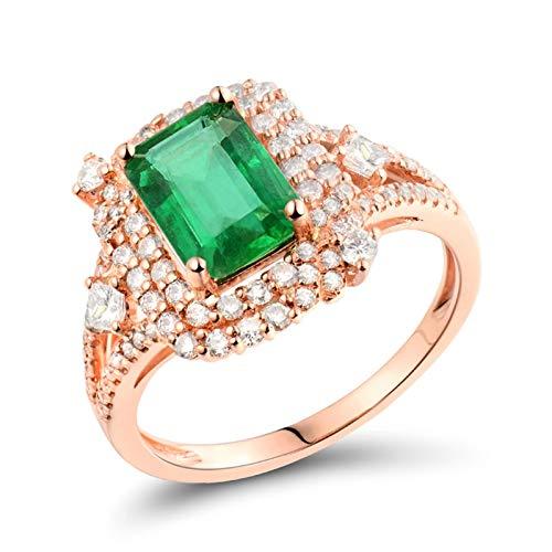 AnazoZ Anillo Mujer Verde Esmeralda,Anillos de Boda de Oro Rosa de 18K Oro Rosa Verde Rectángulo Esmeralda Verde 1.65ct Diamante 0.59ct Talla 9,5