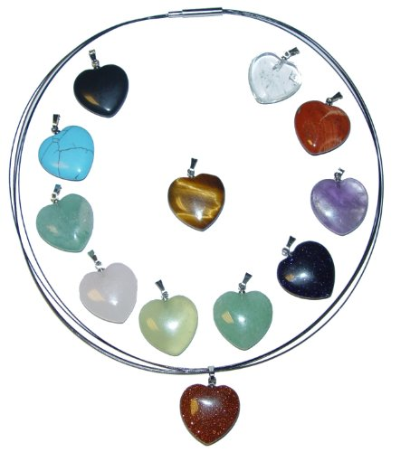 12 Stück Herzanhänger 20 mm echte Edelsteinen mit 45mm silbernen Edelstahl Halsreif z.B. Rosenquarz Bergkristall Amethyst.(2929-silber-45)