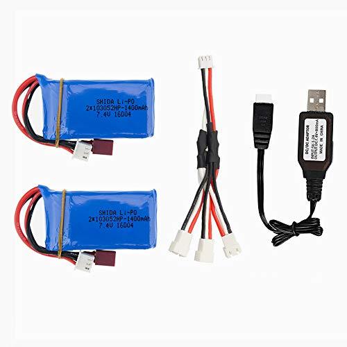 7.4V 1400mah 25C LiPo Battery Dean-T Plug for Wltoys A959-B A969-B A979-B K929-B RC Car Parts 2 Pack with USB Charger