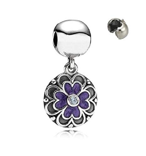 Ciondolo a forma di fiore viola, in argento Sterling di altissima qualità, adatto per braccialetti Pandora e simili.