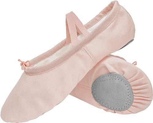 L-RUN Womens Canvas Ballet Shoes Slpit-Toe Ballet Slippers Practice Beige...