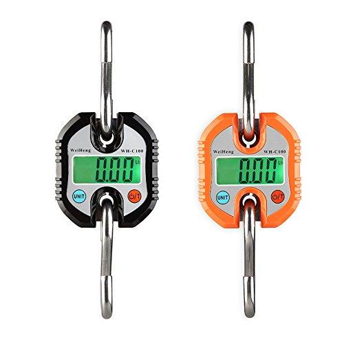 Sue Supply Báscula electrónica portátil para caza, mini báscula digital, sin batería, color negro y naranja negro negro