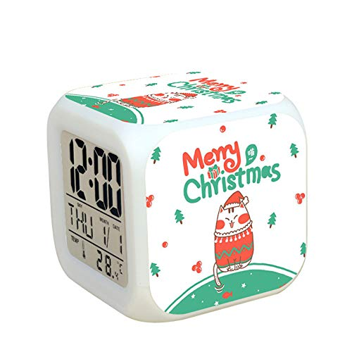 N/J Creative Gift Decorations Christmas Decorations Santa Claus Colorful Color Changing Alarm Clock, 5