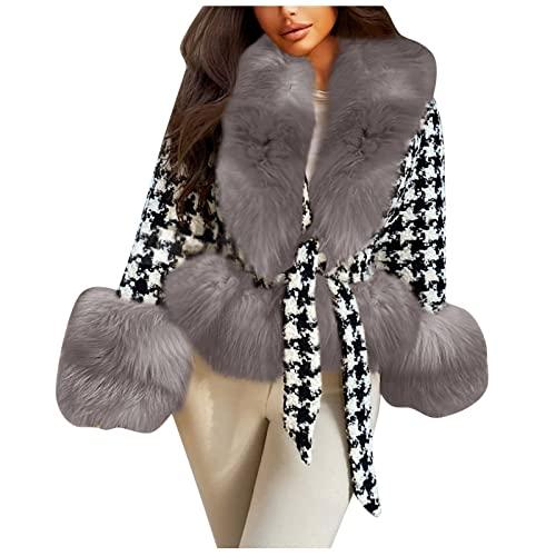 Chaqueta de invierno cálida para mujer, abrigo grueso con felpa, parka corta, chaqueta de entretiempo de piel sintética, abrigo de lana, parka, chaqueta de forro polar
