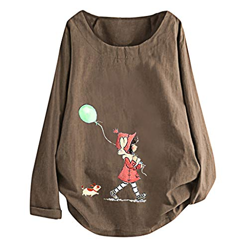Why Choose Beihxwe Women Cute Cartoon Dog Print Blouse Top Long Sleeve O Neck Casual Loose Tee T-Shi...