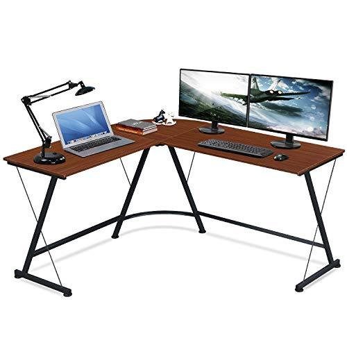LENTIA Ecktisch Schreibtisch Eckschreibtisch Computerschreibtisch PC Bürotisch Computertisch PC Tisch Rote Walnuss Farbe L130/150*D50*H75cm für Hause & Büro ((Typ2))