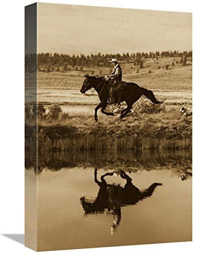 Global Gallery Caballo de Vaquero al Lado del Estanque con Dos Perros, Oregon – Lienzo artístico 12 x 18 Pulgadas