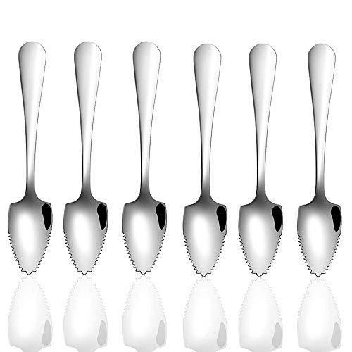 6 Pcs Stainless Steel Grapefruit Spoon Scraping Spoon Dessert Spoons for Apple, Kiwi, Papaya, Orange and Ice Cream