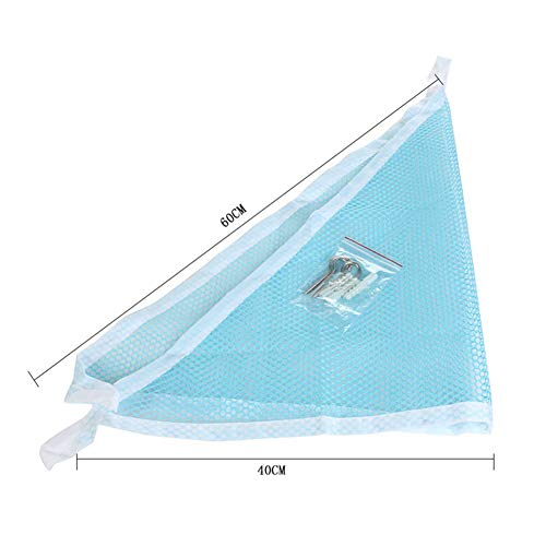 HLSUSAN Toy Hammock Large Soft Mesh Net Nursery Furniture Products with 3 Sticky Hooks for Keeping The Children's Room Clean and Tidy,Blue,150 * 100 * 100