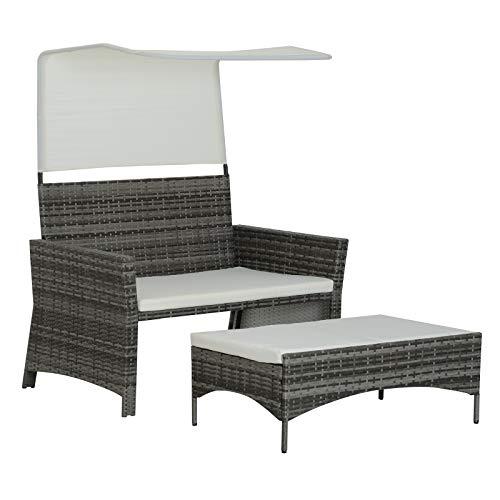 Outsunny 2-TLG. Gartensofa Gartenmöbel Lounge Gartenset Sitzgruppe Rattenmöbel Grau Polyrattan + Metall 2er-Sofa 1 x Hocker mit Sonnendach