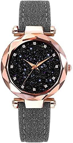 JZDH Mano Reloj Reloj de Pulsera Starry Sky Mujeres Relojes de Cuero de Moda Reloj de Cuero Ladies Reloj de Pulsera de Cuarzo Femenino Reloj de Lujo Reloj Mujer Relojes Decorativos Casuales