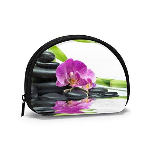 Wellness asiatico con pietre per massaggi Zen Purple Orchid Piccolo portamonete per donna Simpatico portamonete per ragazza Mini portamonete Sacchetto di immagazzinaggio Portafoglio a conchiglia