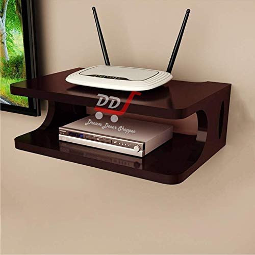 DDS Dream Decor Shoppee Engineered Wood Glossy Multipurpose Set Top Box Holder Wall Shelf Beauty at its Best for WiFi Modem Display Rack Living Room Bedroom and Side Cutting Design Like Eye (Brown)