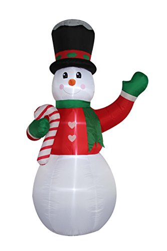 Santa's Boutique Christmas Self Inflating Illuminated Blow-Up Yard Decorations (Snowman with Candy Cane 8 Feet Tall)