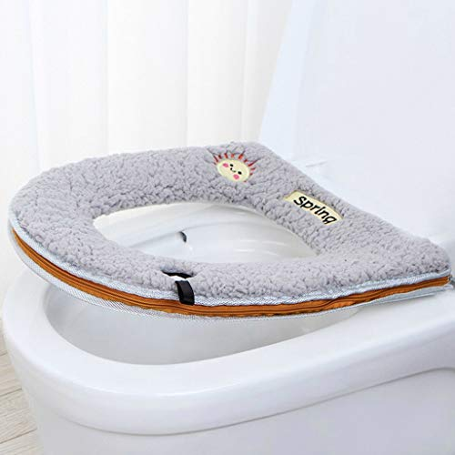 Monoche Winter Plush Toilet Seat Warm Comfortable Adhesive Pad Best Choice for Barthroom Toilet Zipper with Handle (Gray)