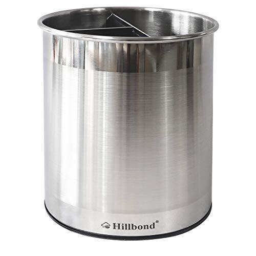 Hillbond Rotating Utensil Holder Utensil Crock: Stainless Steel Kitchen Utensil Organizer with Removable Insert for Cooking