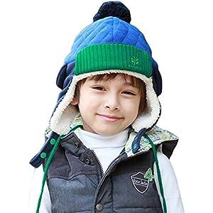 LeafIn ニット帽 キッズ 飛行帽 パイロット パイロットキャップ ベビー 帽子 子供 耳あて 防寒 ポンポン 女の子 男の子 春 秋 冬 (ブルー/ネービー, XL(52-56cm))