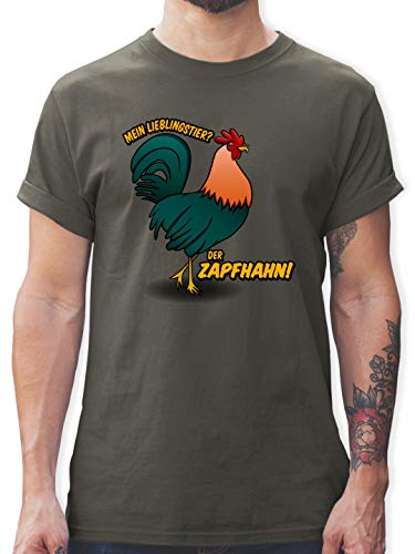 Sprüche Statement mit Spruch - Mein Lieblingstier? Der Zapfhahn! - 3XL - Dunkelgrau - Spruch t-Shirt Herren - L190 - Tshirt Herren und Männer T-Shirts