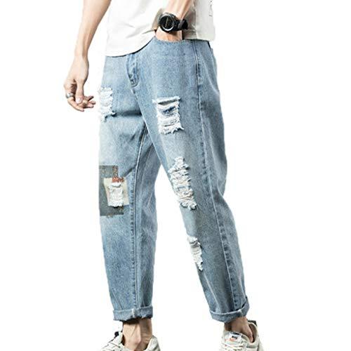 Feidaeu Pantalones Lesiure para Hombre Jeans Rasgados Diseño Retro Envejecido Juvenil Lavado Cómodo Street Wear Pantalones de Nueve Puntos