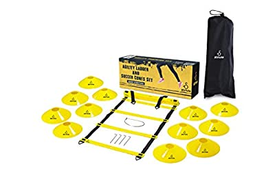 Strivio Agility Ladder - Football Training Equipment Set for Quick Footwork Exercise - Agility Workout - Speed Training - Soccer Training Equipment Kit Includes 20ft Speed Ladder - 12 Agility Cones