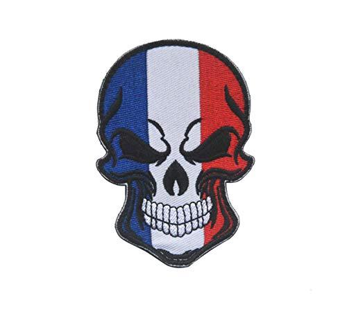Patchschedel en kruisbeenderen Rusland Frankrijk Spanje Italië Vlag Tactische Moraal Militaire leger haak en lus sluiting [2 Tactische patches] France