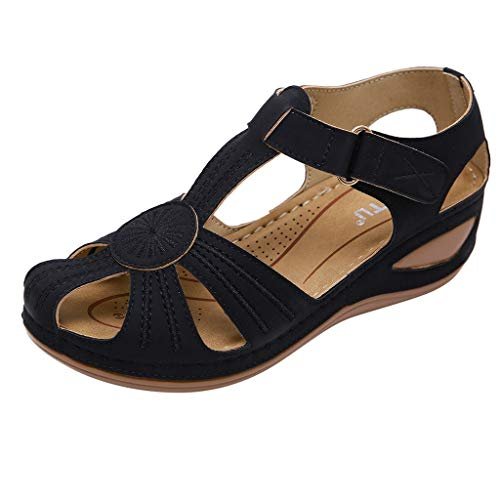 WWricotta Women's Ladies Girls Comfortable Ankle Hollow Round ToeSandalsSoft SoleShoes(Schwarz,40)