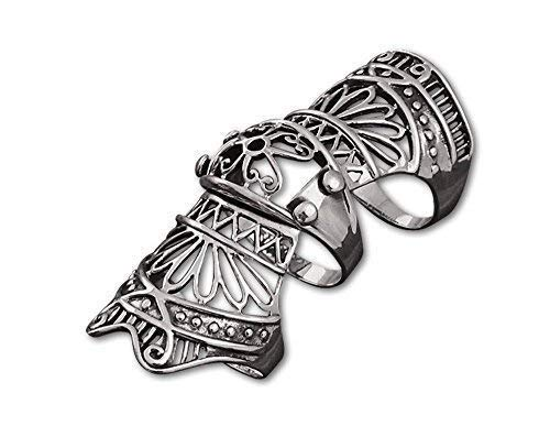 etNox - Ring ''Armour Finger'' Edelstahl, Ringgrösse:59