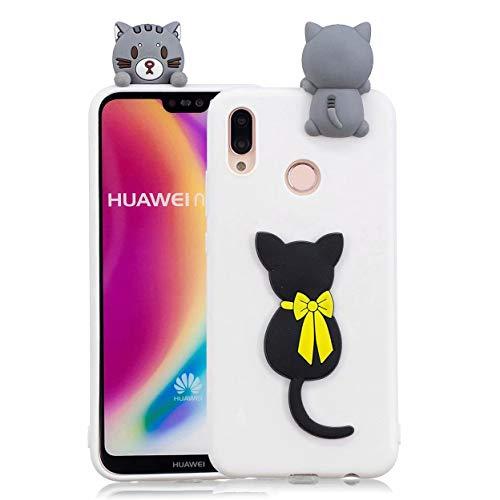 MUTOUREN 3D Cartton koffer, Kat, Huawei P20 Lite/Huawei Nova 3e