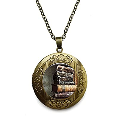 Vintage Bronze Tone Locket Picture Pendant Necklace Trendy Stack of Antique Books Pendant Included Free Brass Chain Gifts Personalized