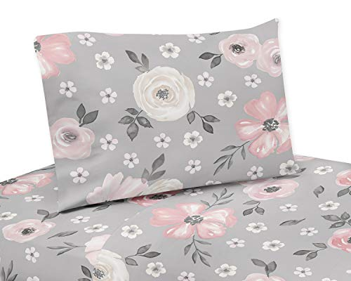 Sweet Jojo Designs Grey Watercolor Floral Queen Sheet Set - 4 Piece Set - Blush Pink Gray and White Shabby Chic Rose Flower Farmhouse