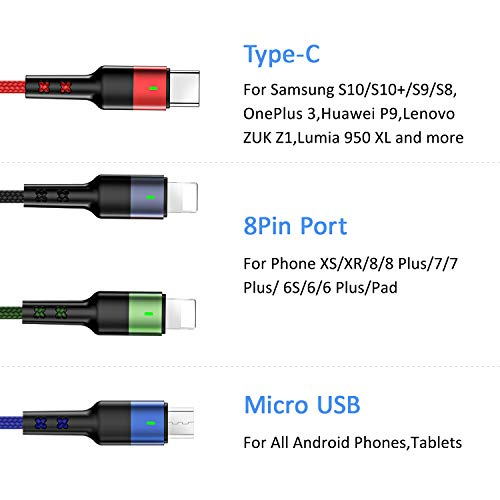 USAMS Multi USB Kabel, 4 in 1 Ladekabel Handy für Auto/Büro 60cm ziehen bis 1.5M, Nylon für 2 iP+ USB C+ Micro USB, Universal für Samsung Galaxy S10 S9 S8 S7 Huawei Xiaomi alle Smartphones