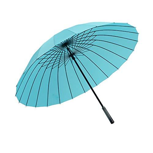 Paraguas recto resistente al viento para hombre de negocios de 24 huesos, gran regalo retro, paraguas de golf, paraguas publicitario, mango de cuero, azul cielo_25 pulgadas * 24 k