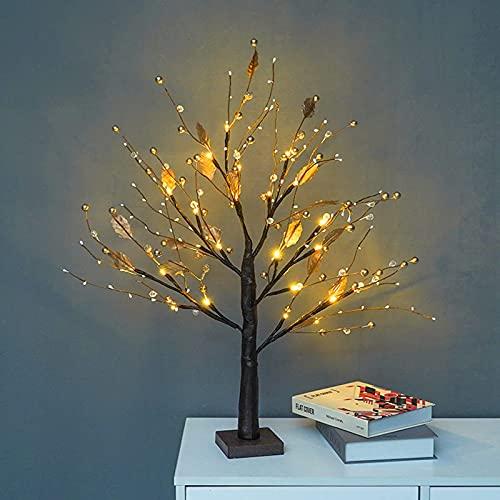 Lámpara de árbol para dormitorio, farol de paisaje, decoración de árbol luminosa, vacaciones, boda, decoración interior creativa (dorada)