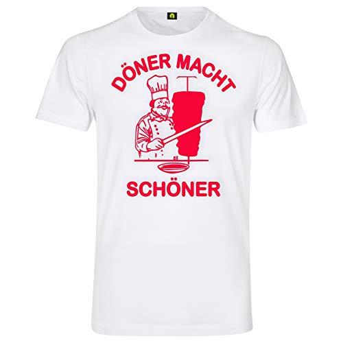 Döner Macht Schöner T-Shirt | Kebap | Dürüm | Lahmacun | Helal | Pizza | Adana Weiß S