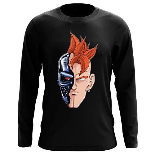 Okiwoki T-Shirt Manches Longues Noir Parodie Dragon Ball Z - Terminator - C16 X Terminator - T-16 (T-Shirt de qualité Premium de Taille XL - imprimé en France)