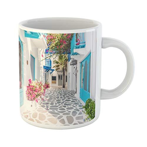 Semtomn Funny Coffee Mug Beautiful Architecture Building Exterior Santorini and Greece Vintage Light 11 Oz Ceramic Coffee Mugs Tea Cup Best Gift Or Souvenir