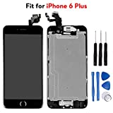 Ayake for iPhone 6 Plus Digitizer Screen Replacement Black 5.5'' Full LCD Display Assembly with Home Button, Front Facing Camera, Earpiece Speaker Pre Assembled and Repair Tool Kits