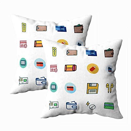 Fundas de almohada con cremallera, fundas de almohada divertidas Icono electrónico de...