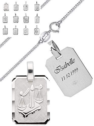 aplusashop Silber Sternzeichen Anhänger 925 + Kette und Gravur nach Wunsch Echtsilber mit Box (Löwe, Mit Gravur)