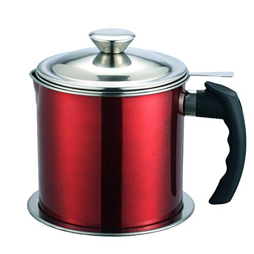 Oil Storage Grease Keeper,304 Stainless Steel Bacon Grease Container with Removable Dustproof Lid and Coaster Tray.1.2L (Red)