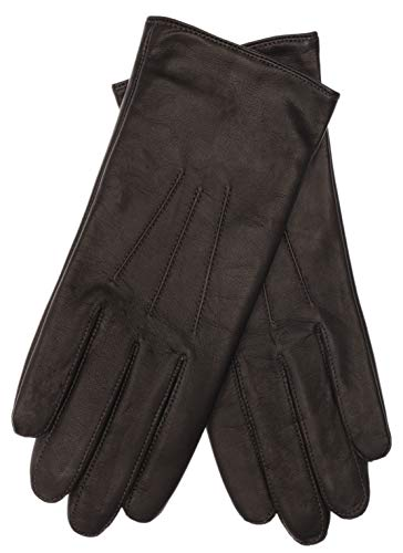 EEM Damen Leder Handschuhe AMELIE aus Lammnappaleder; braun, M